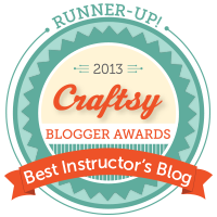 the Craftsy 2013 Blogger Awards, we won Runner-Up for Sewing Best Instructor's Blog